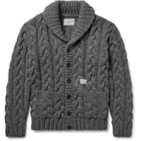 NeighborhoodShawl-collar Cable-knit Wool Cardigan - gray
