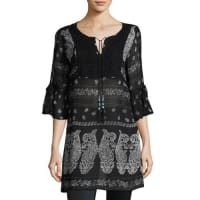 Neiman Marcus3/4-Sleeve Tie-Front Tunic, Black Pattern