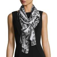 Neiman MarcusAztec-Print Wrap Scarf, Black/White