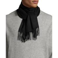 Neiman MarcusCashmere Solid Fringe Scarf, Black