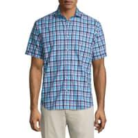 Neiman MarcusCheck-Print Short-Sleeve Sport Shirt, Blue