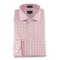 Neiman MarcusClassic-Fit Non-Iron Check Dress Shirt, Coral/Blue