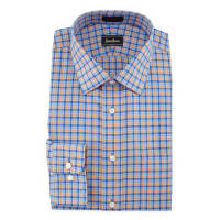 Neiman MarcusClassic-Fit Non-Iron Check Dress Shirt, Orange/Blue