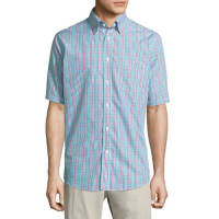 Neiman MarcusClassic-Fit Non-Iron Check Short-Sleeve Sport Shirt, Red/Multi