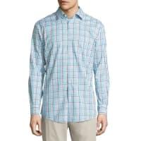 Neiman MarcusClassic-Fit Non-Iron Check Sport Shirt, Blue