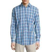 Neiman MarcusClassic Fit Non-Iron Cotton Sport Shirt, Medium Blue Check