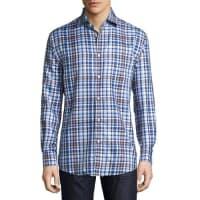Neiman MarcusClassic-Fit Non-Iron Plaid Sport Shirt, Blue/Brown