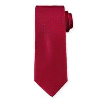 Neiman MarcusDash-Pattern Silk Tie, Red