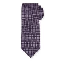 Neiman MarcusDash-Print Silk Tie, Black/Purple