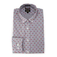Neiman MarcusExtra-Trim Fit Striped Clip-Dot Dress Shirt, Red/Navy