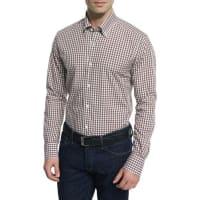 Neiman MarcusGingham Long-Sleeve Sport Shirt, Brown