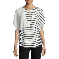 Neiman MarcusKeyhole Striped Dolman Blouse, Black/White