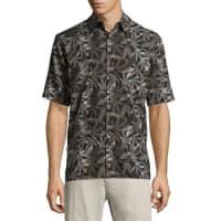 Neiman MarcusLeaf-Print Short-Sleeve Shirt, Black