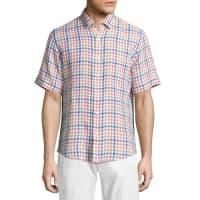 Neiman MarcusLinen Gingham Short-Sleeve Shirt, Leaf
