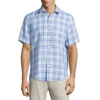 Neiman MarcusLinen Gingham Short-Sleeve Shirt, Soft Blue