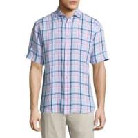Neiman MarcusLinen Plaid-Print Short-Sleeve Shirt, Blue/Pink