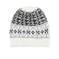 Neiman MarcusMixed Fair Isle-Pattern Knit Hat, Black/White