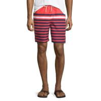 Neiman MarcusMulti-Stripe Swim Trunks, Red