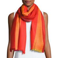 Neiman MarcusOmbre Herringbone Scarf, Red/Orange