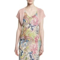 Neiman MarcusShort-Sleeve Sheer-Striped Shrug, Light Pink