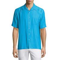 Neiman MarcusSilk-Blend Twill Sport Shirt, Breezy Blue