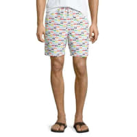 Neiman MarcusSunglasses-Print Swim Trunks, White/Multi
