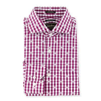 Neiman MarcusTrim-Fit Check Dress Shirt, Berry