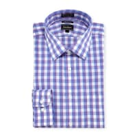 Neiman MarcusTrim-Fit Non-Iron Check Dress Shirt, Purple