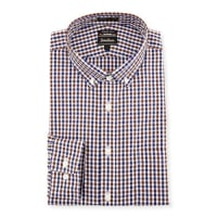 Neiman MarcusTrim-Fit Non-Iron Plaid Dress Shirt, Brown