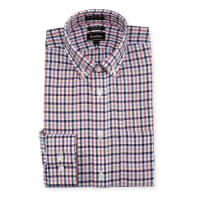Neiman MarcusTrim-Fit Non-Iron Plaid Dress Shirt, Orange/Blue