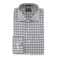 Neiman MarcusTrim-Fit Plaid Dress Shirt, Black
