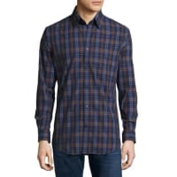 Neiman MarcusTrim-Fit Plaid Sport Shirt, Blue