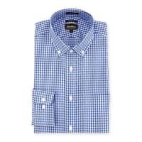 Neiman MarcusTrim-Fit Regular-Finish Check Dress Shirt, Blue