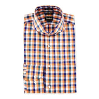 Neiman MarcusTrim-Fit Regular-Finish Check Dress Shirt, Orange/Blue