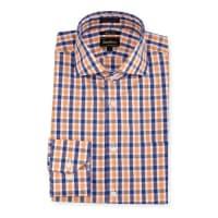 Neiman MarcusTrim-Fit Regular-Finish Plaid Dress Shirt, Orange/Blue