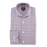 Neiman MarcusTrim-Fit Regular-Finish Plaid Dress Shirt, Pink