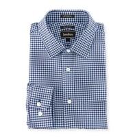 Neiman MarcusTrim-Fit Textured-Check Dress Shirt, Navy