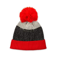 Neiman MarcusZingy Knit Wool Hat, Black/White/Red