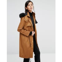 Neon RoseLongline Parka With Drawstring Waist And Luxe Fur Hood - Tobacco