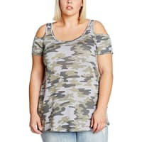 New LookDamen T-Shirt Camo Coldshoulder
