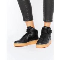 NikeAir Force 1 07 Mid Sneakers In Black With Gumsole - Black