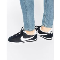 NikeClassic Cortez Sneakers In Black And White - Black