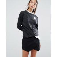 NikeAusgewaschenes Vintage-Sweatshirt mit Rundhalsausschnitt und kleinem Logo - Schwarz