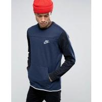 NikeBlaues Sweat-Oberteil mit Kontrastärmeln, 804775-451 - Blau