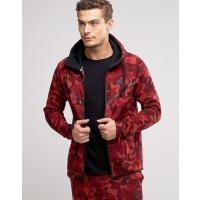 NikeTech - Sweat à capuche camouflage en polaire - Rouge 835866-674 - Rouge