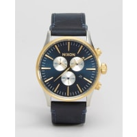 NixonSentry Chronograph Watch In Leather - Black