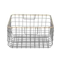 NkukuLemba Wire Basket - Grey & Wicker