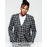 NoakMonochrome Check Suit Jacket in Super Skinny Fit - Black