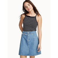 Noisy MayFringed band denim skirt
