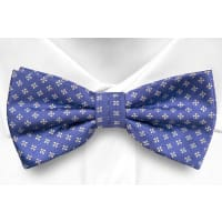 NotchSelf tie bow tie - Blue twill with square white flowers